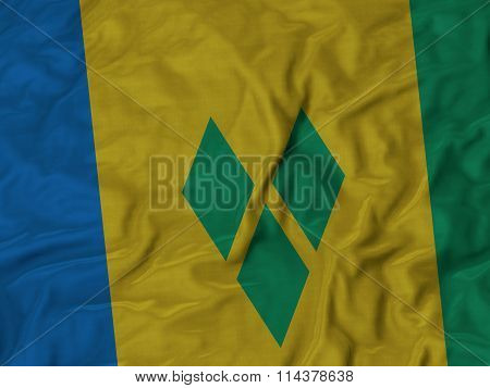Close Up Of Ruffled Saint Vincent And The Grenadines Flag