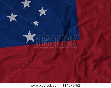 Close Up Of Ruffled Samoa Flag