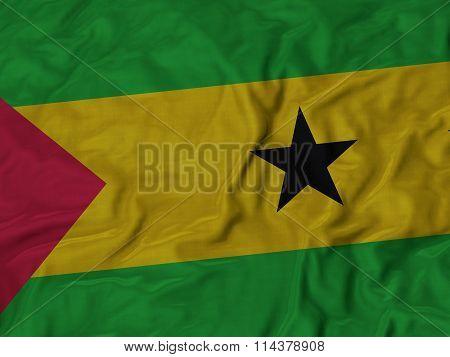 Close Up Of Ruffled Sao Tome And Principe Flag