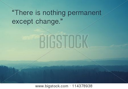 Inspirational quote by ancient Greek philosopher Heraclitus against nature background