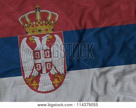 Close Up Of Ruffled Serbia Flag
