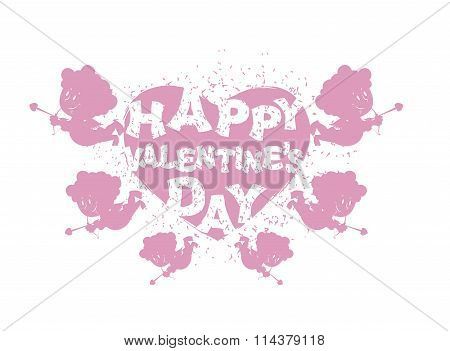 Valentine's Day Logo. Heart And Cupid. Many Cupids With Bows. Flying Angel Cute. Silhouette Merry Ho