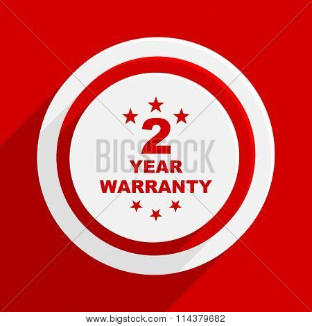 warranty guarantee 2 year red flat design modern vector icon for web and mobile app
