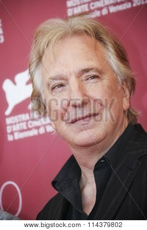 VENICE, ITALY - SEPTEMBER 04: Actor Alan Rickman attends 'Une Promesse' Photocall during the 70th Venice International Film Festival at Palazzo del Casino on September 4, 2013 in Venice, Italy.
