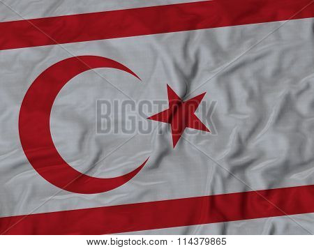 Close Up Of Ruffled Turkish Republic Of Northern Flag