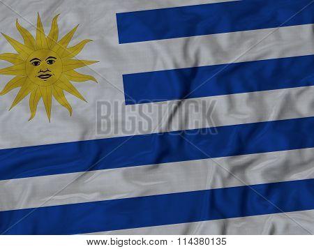Close Up Of Ruffled Uruguay Flag