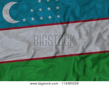 Close Up Of Ruffled Uzbekistan Flag
