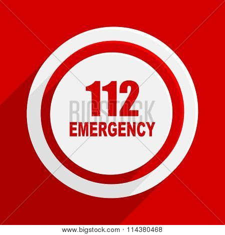 number emergency 112 red flat design modern vector icon for web and mobile app