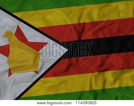 Close Up Of Ruffled Zimbabwe Flag