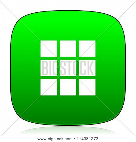 thumbnails grid green icon for web and mobile app