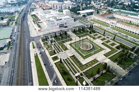 Aerial View of Empire Square and Jeronimos Monastery, Lisbon, Portugal