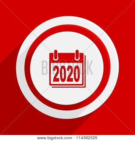 new year 2020 red flat design modern vector icon for web and mobile app
