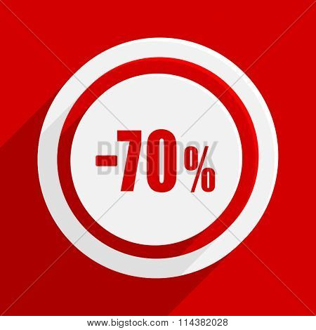 70 percent sale retail red flat design modern vector icon for web and mobile app