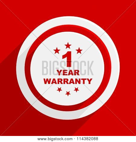 warranty guarantee 1 year red flat design modern vector icon for web and mobile app