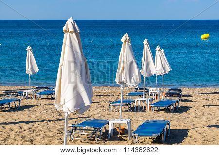 Beach In Kolymbia. Rhodes, Greece