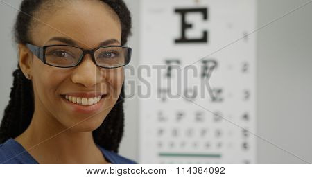 Woman Trying On Her New Glasses