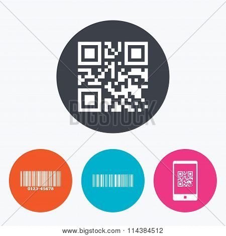 Bar and Qr code icons. Scan barcode symbol.