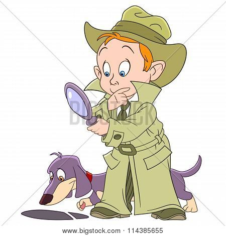 Smart Young Cartoon Detective Boy