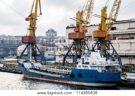 ?argo Cranes In The Port In The Winter And Boat