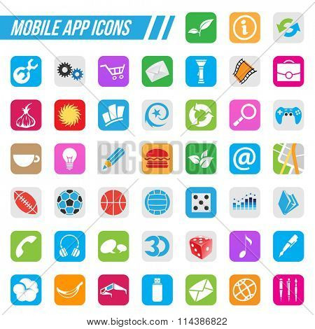 Vector Illustration Mobile App Icons, isolated on a white background