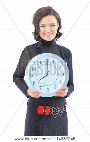 Nice business woman with the clock.