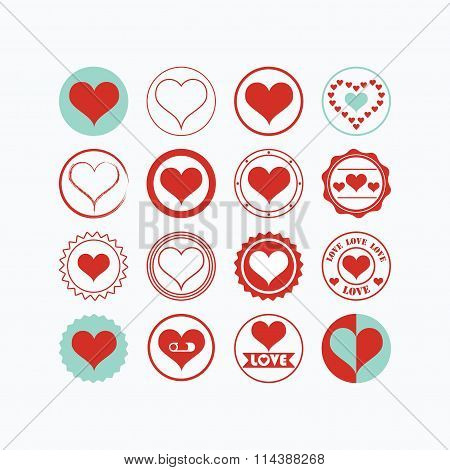 Red and teal heart symbols icons set on white background