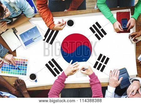 South Korea National Flag Business Team Meeting Concept