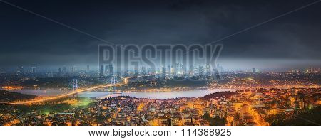 Panorama of Istanbul and Bosphorus bridge at night