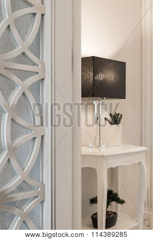 Interior Luxury Apartment, Detail Room, Dresser And Table Lamp