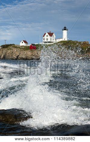 Crashing Waves At Maine Lighthouse
