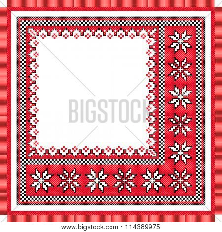 vector imitation serviette like handmade cross-stitch ethnic Ukraine pattern. old embroidery