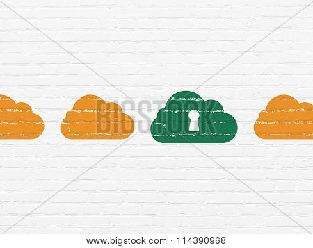 Cloud networking concept: cloud with keyhole icon on wall background
