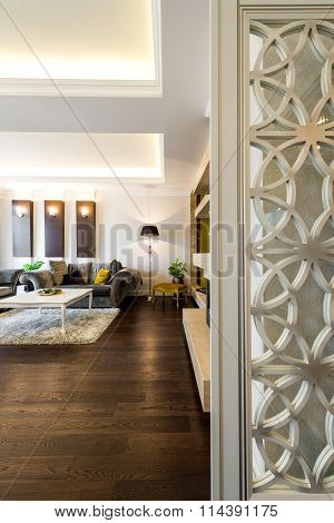 Interior Of A Living Room In Luxury Apartment