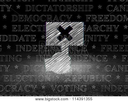 Politics concept: Protest in grunge dark room