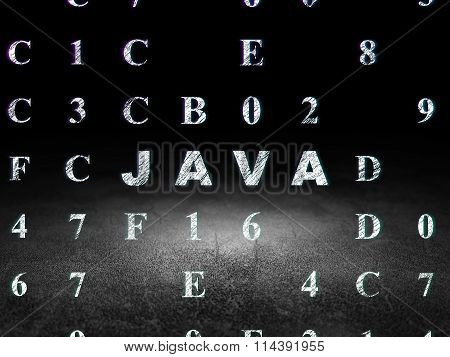 Software concept: Java in grunge dark room