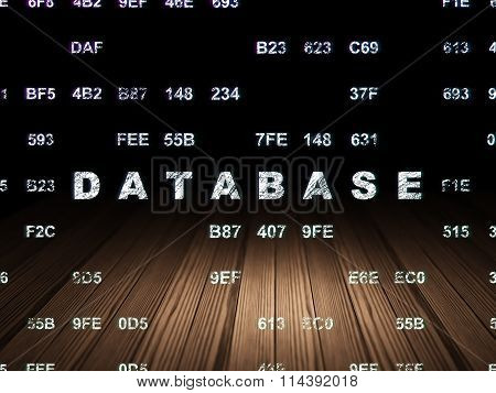 Software concept: Database in grunge dark room