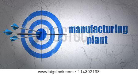Manufacuring concept: target and Manufacturing Plant on wall background