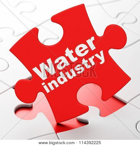 Industry concept: Water Industry on puzzle background