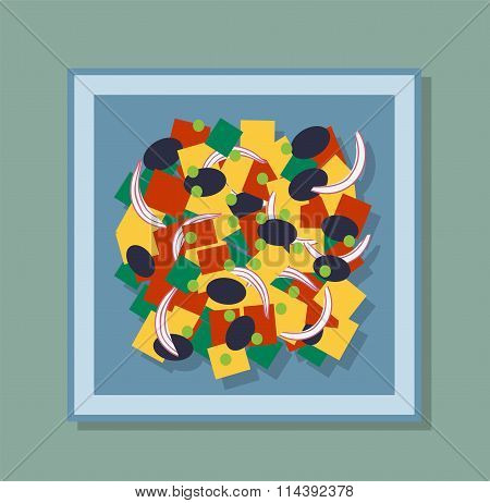 Greek salad  on the plate vector illustration