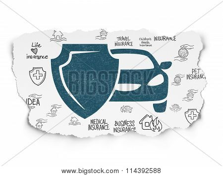 Insurance concept: Car And Shield on Torn Paper background