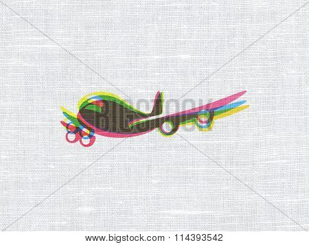 Travel concept: Airplane on fabric texture background