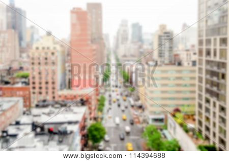 Defocused Background With Aerial View Of 1St Avenue, Nyc