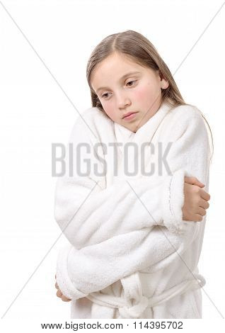 Girl Has A Stomachache, Isolated On White Background