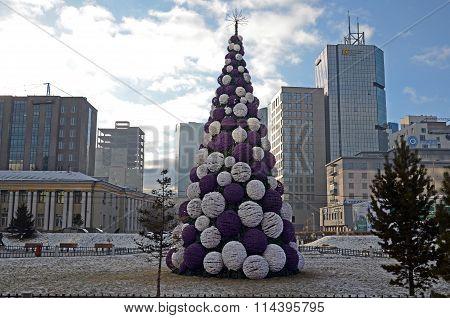 Ulaanbaatar,MN-Dec,03 2015:Christmas Treewith Decorated With Big Balls In The Center Of Ulaanbaatar
