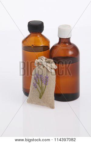 sachet of lavender and massagel oil