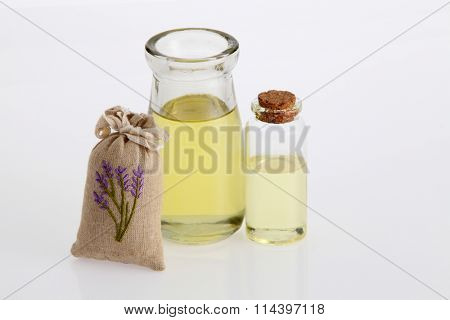 sachet of lavender and massage oil