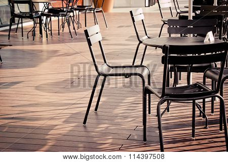 Chair And Desk/ Table Set On The Offe Shop Balcony
