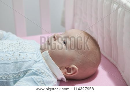 Baby Boy Lying In Cot With Bumper Pad
