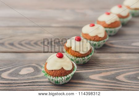 Fresh baked cupcakes with white chocolate
