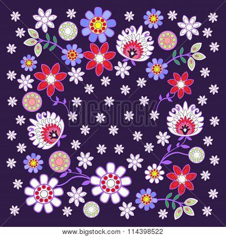 Folk design with flower